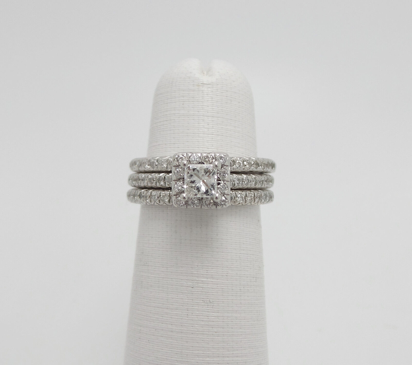 Zales 1CT Princess Diamond Engagement Wedding Ring Bridal Set 14K White gold
