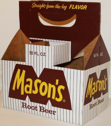 Vintage soda pop bottle carton MASONS ROOT BEER 10oz size unused new old stock