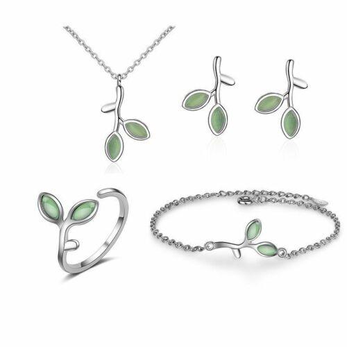 Damen Schmuck Set 925 Silber Halskette Ohrringe Ring Armband Opal Blatt Knospe.