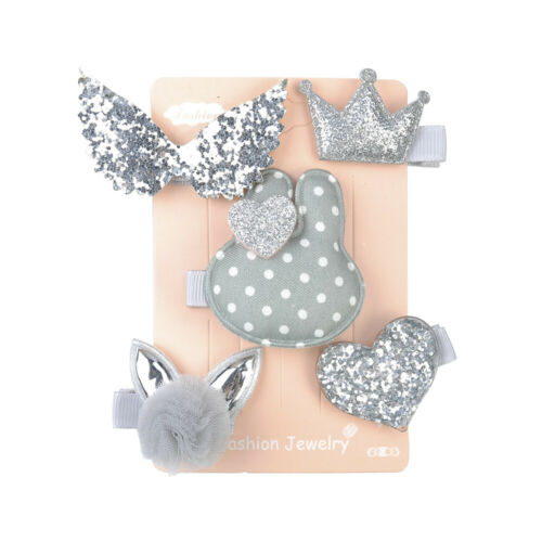 5PCS Lovely Kids Baby Girl Hair Clips Bowknot Heart Crown Headwear Hairpins Set