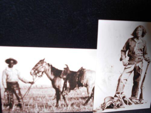 1880 Cowboy and horse ca 2 vintage photo postcards black cowboys Nat Love