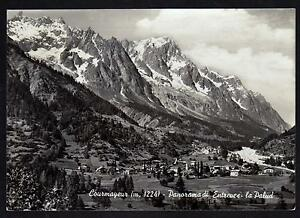 COURMAYEUR-AOSTA-CARTOLINA-PANORAMA-DI-ENTREVES-LA-PALUD-FG-VG-1955-LUBOZ