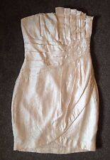 Size 10 Ivory Metallic Bandeau Strapless Ball Mini Dress New Party Christmas