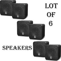 Lot Of (6) Pylehome 4'' 200 Watt Black Mini Cube Bookshelf Speaker In Black on sale