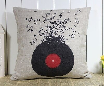 Novelty Disk Flying Musical Notes Guitar Trumpet Cushion Cover Throw Pillow Case