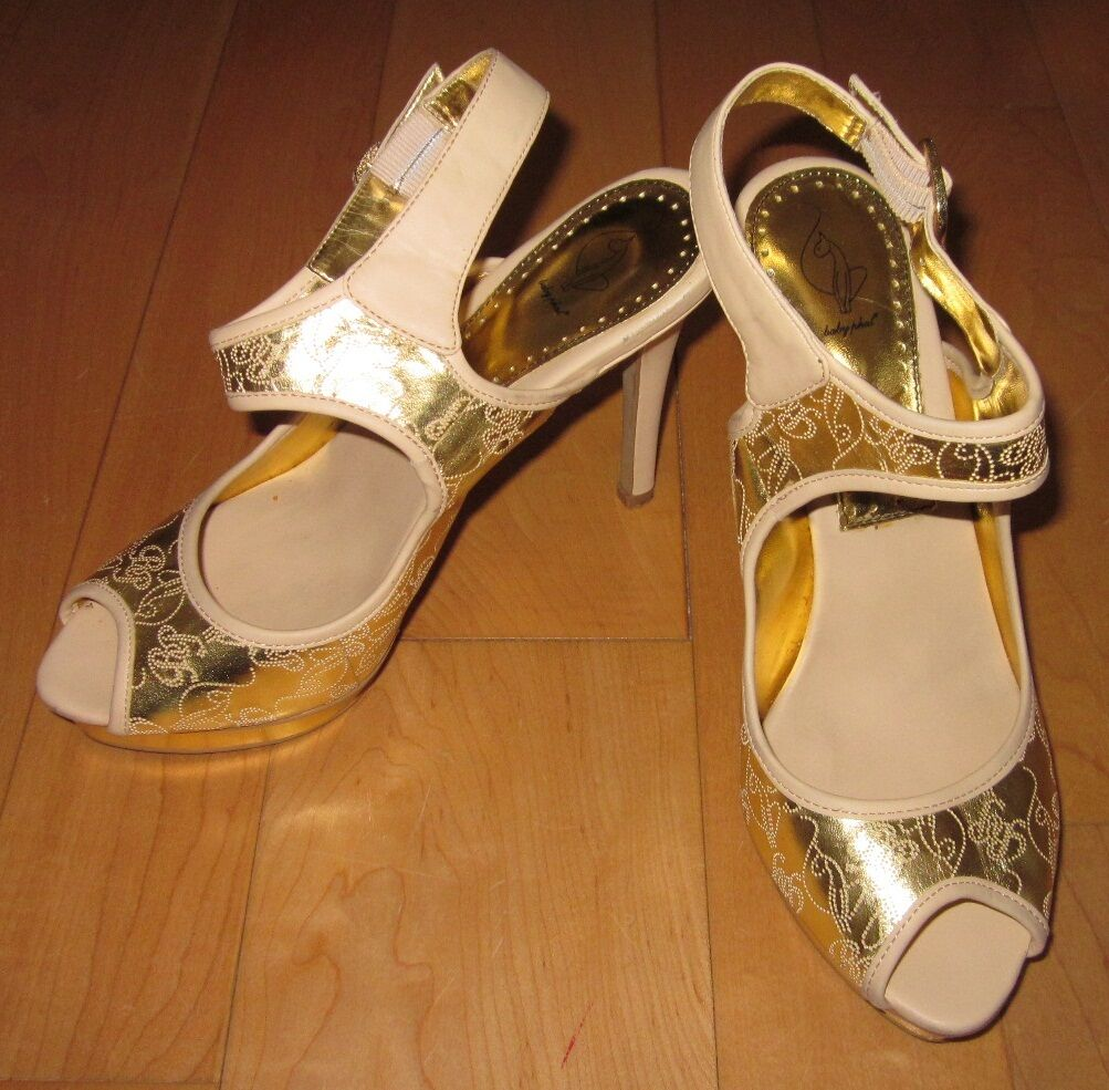 Baby Phat Donna Gold & Cream Slingback Open Toe Heels 8