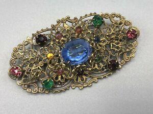 Vintage-Czech-Brooch-Oval-Filigree-Gold-Tone-Multicoloured-Rhinestones-Glass-Pin
