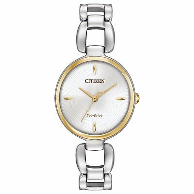 Citizen Eco-Drive Women's EM0424-53A White Pattern Dial Two Tone 29mm Watch