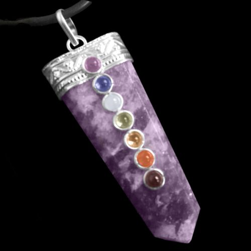 Violet lépidolithe 7 Chakra Gemstone Pendentif Crystal Point Necklace Reiki Guérison