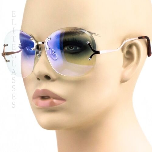 NEW OVERSIZED VINTAGE RETRO Style Clear Lens Sun Glasses Upside Down Gold Frame