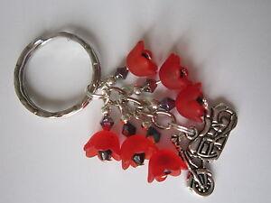 Keyring-Bag-Charm-Motorbike-amp-Red-Lucite-Poppy-Flowers