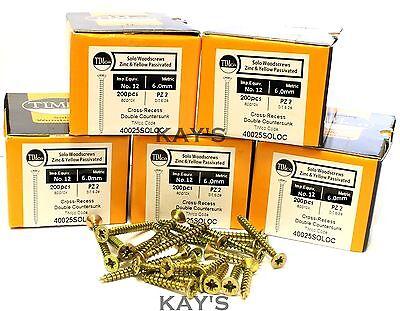 POZI COUNTERSUNK WOOD SCREWS YELLOW ZINC PLATED 6mm 12g BULK TRADE PACK OF 1000
