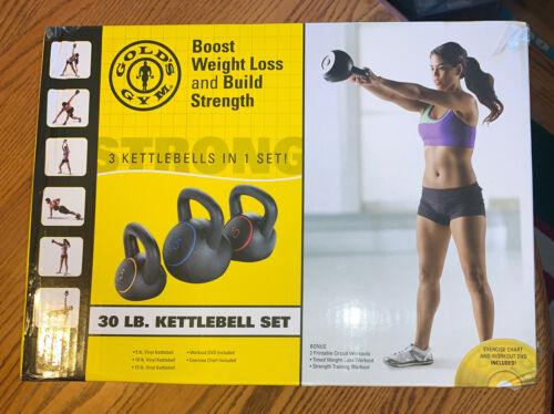 Golds Gym 30lb Kettle Bell Set Includes 3 Kettlebells 5 15lb Ships Same Day 10