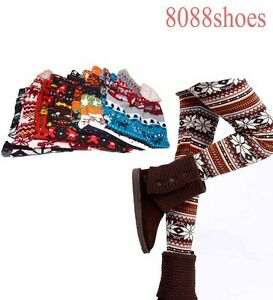 Women-039-s-ONE-SIZE-Winter-Snowflakes-Pattern-Warm-Legging-Skinny-NEW-6-Color-Print
