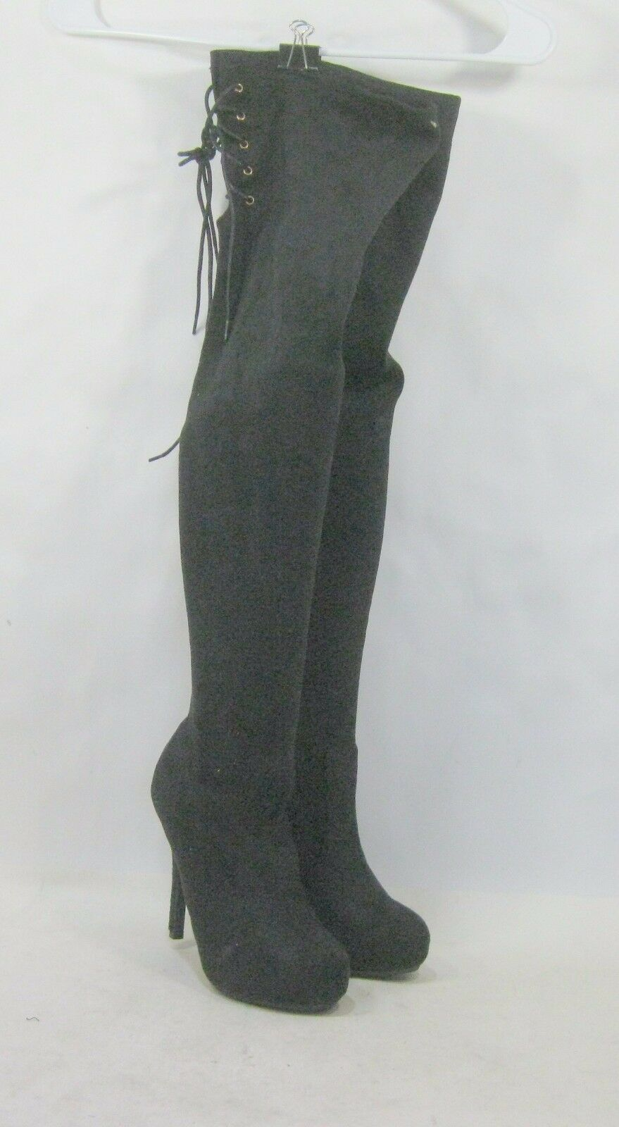 Womens Black 4.5  Stiletto High Heel Sexy Over Knee Boot Size 5.5