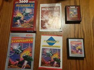 Atari-2600-Defender-II-2-amp-Stargate-CIB-TESTED-WORKING-Carts-Manuals-Boxes