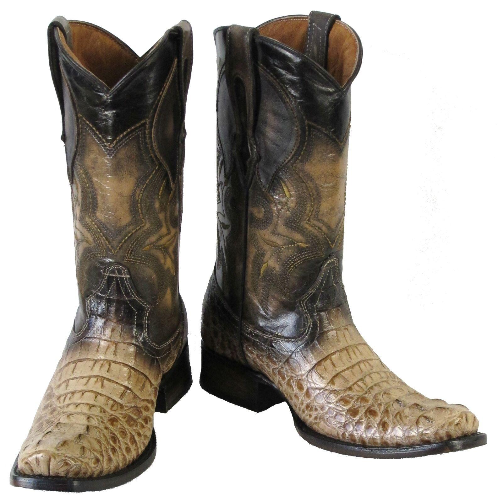 Men's Crocodile Head Design Leather Cowboy Western Square Boots Sand