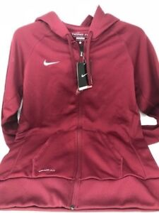 03f4d0a7584d Nike Women s Therma-Fit Full Zip Poly Fleece Hoodie Cardinal White ...