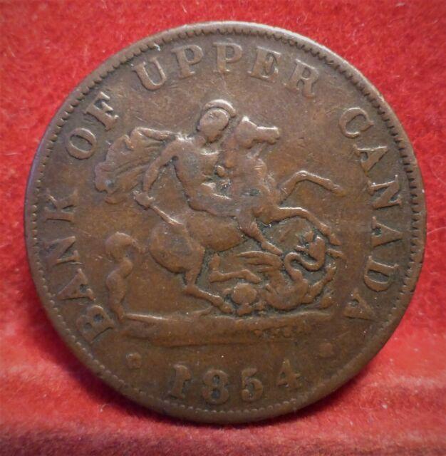 Bank of Upper Canada 1854  One Half Penny Token PC-5C