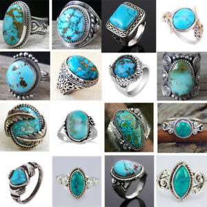 Vintage-Women-925-Silver-Turquoise-Ring-Men-Wedding-Engagement-Party-Size-6-10