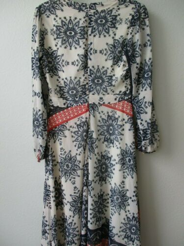 $99 SHERYL CROW WHITE /& MULTI-COLOR PRINTED LONG SLEEVE MAXI DRESS SIZE 18W NWT