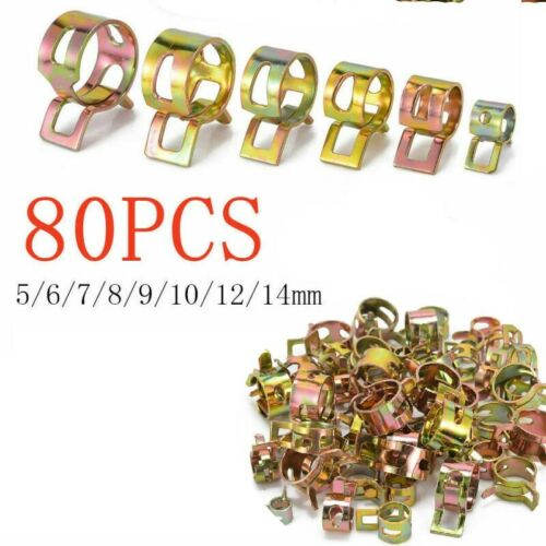 80 Pcs Fuel Line Hose Spring Clip Water Pipe Air Tube Clamp 5//6//7//8//9//10//12//14mm