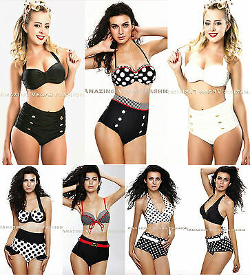 Cutest Retro Swimsuit Swimwear Vintage Pin Up High Waist  Bikini  S/M/L/XL/XXL