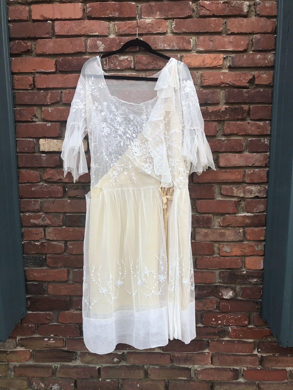 Antique Edwardian White Mesh Dress with Floral Em… - image 2