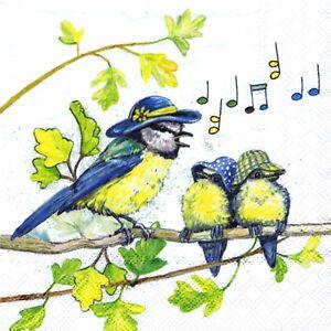 Lot de 3 Serviettes en papier Cocktail Oiseau Nid oisillons Decoupage Collage