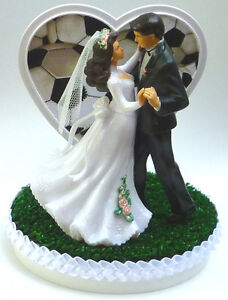 Wedding Cake Topper Soccer Sports Themed Couple Dancing Groom\'s Turf ...