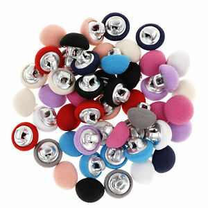 50//20Pcs 10-25mm Leather//Cloth Covered Metal Shank Button for Gowns Blouses Coat