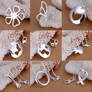 9-Style-Women-925-Sterling-Silver-Plated-Beauty-Statement-Pendant-Necklace