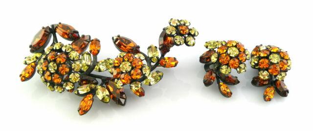 BIG Vintage 1950s SCHREINER NY Tremblant Rhinestone FLOWER Brooch & Earrings SET