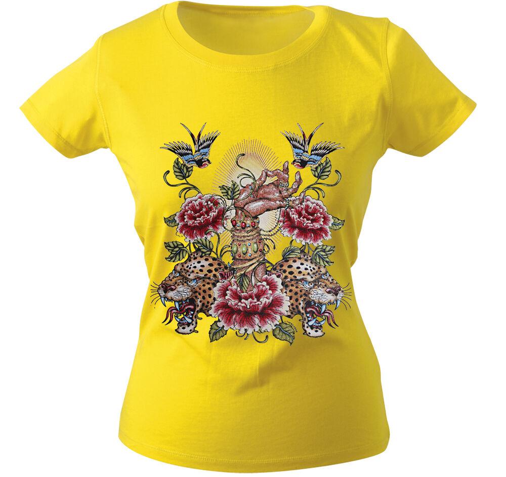 (10893 Jaune) Girly T-shirt S M L Xl Xxl Femmes Motif Shirts ○ Tigre ○ Main ○