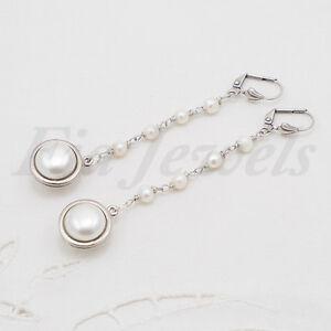 Orecchini-stile-antico-perle-naturali-ottone-argentato-anticato-Gioielli