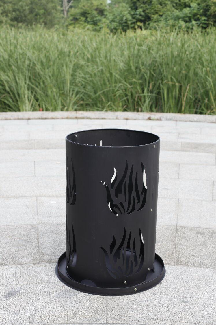Pebetero acero fuego cesta fuego pilar con suelo óxido & atizador 60 x 40 cm