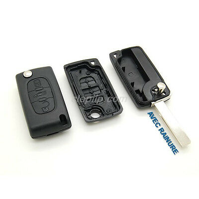 réf:CE0523 Coque clé plip boitier 4 boutons Peugeot 807-1007-partner