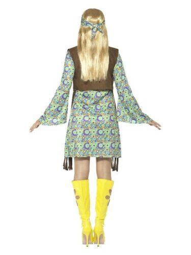 Ladies 60s Hippie Chick Costume Disco Hippy 70s Retro Groovy Go Go Dance Dress