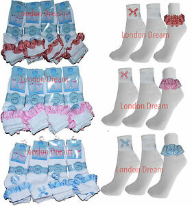 Pairs of Girls Kids Gingham Trim Ankle Lace Bow Frill School Daily Use Socks
