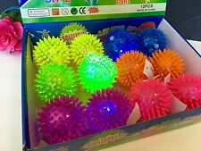 6pc Light up Spike Balls Fetching Pets Dogs Play Toys Flashing Lights Squeaker