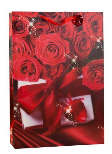 Riesige XXL Geschenktüte Rosendesign Liebe im 2er Set Abmessung 50x72x16cm