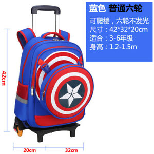 Details About Kids Boys Wheels Blue Backpack Bag Luggage Rolling School Book Pack Trolley Bags