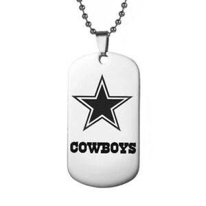 Dallas-Cowboys-Football-Team-Stainless-Steel-Pendant-20-034-Chain-Necklace