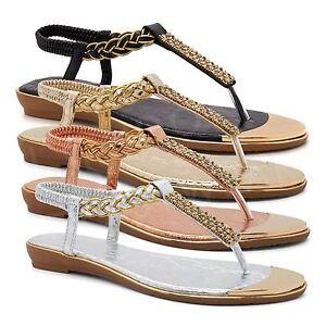 78be94227ef5 Ladies Diamante T Bar Low Wedge Sandals New Womens Toe Post Thong ...
