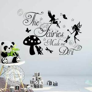 The Fairies Made Me Do It Bedroom Nursery Fairy Butterfly Wall Stickers Decals