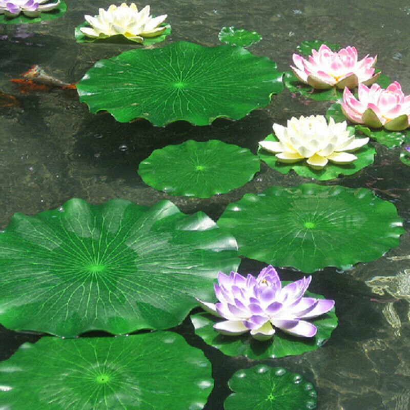 10 Pack 10//20cm  EVA Artificial Floating Lotus Leaves Water Lily Pads Pond Decor