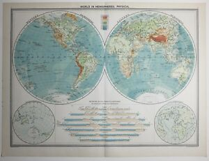 image is loading 1920 large map world in hemispheres water amp