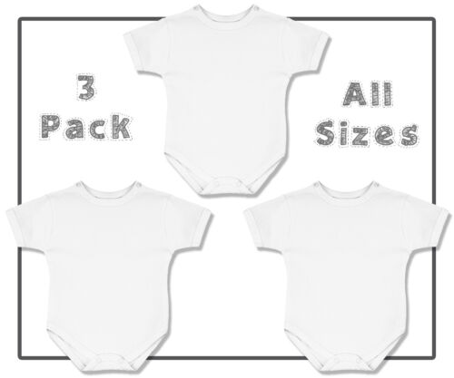 3 pack white plain  baby bodysuit cotton onepiece vest all sizes blank creeper