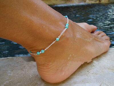 Boho Imitation Turquoise Beads Silver Plated Ankle Chain Anklet Foot Jewelry EX