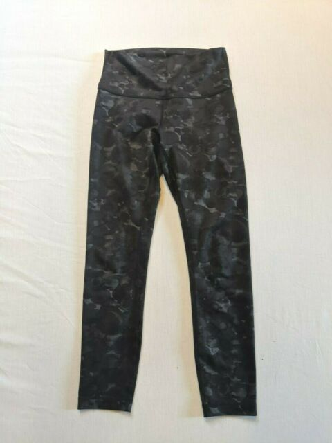LULULEMON Wunder Under High Rise Cropped Leggings - Black Gray Print - Sz 6